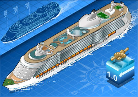 holidays vacancy: Detailed illustration of a Isometric Cruise Ship in Navigation in Front View