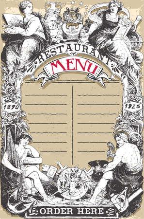 divinit�: Illustration d�taill�e d'une page Vintage Restaurant Menu Illustration