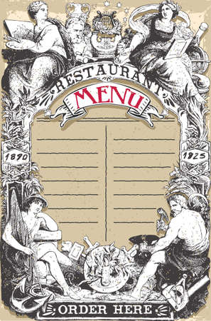 Detailed illustration of a Vintage Page for Restaurant Menu