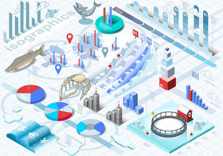 fishing industry: Detailed illustration of a Isometric Infographic Ice Fishing Set in Various Colors