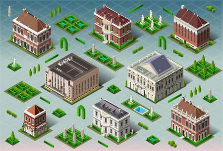 isometrico: Ilustración detallada de un edificio histórico de América isométrico
