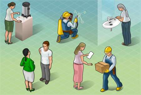 Detailed illustration of a Isometric Services People in Some Positions Vector