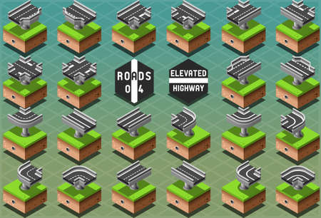 elevated: Detailed illustration of a Isometric Elevated Highway on Green Terrain