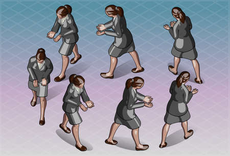 transporting: Detailed illustration of a Isometric Woman that Transporting Something