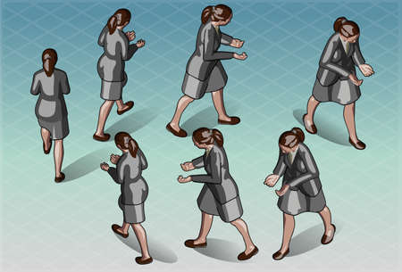 Detailed illustration of a Isometric Woman that Transporting Something