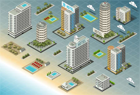 Detailed illustration of Isometric Seaside Buildings 일러스트