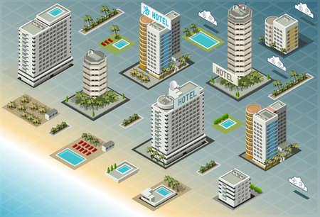 Detailed illustration of Isometric Seaside Buildings Illustration
