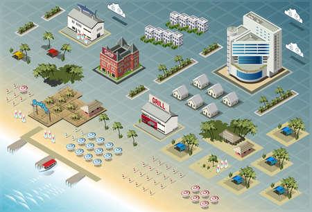 Detailed illustration of Isometric Seaside Buildings Vector