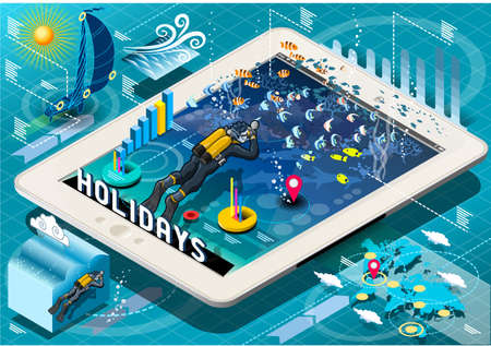 sub tropical: Detailed illustration of a Isometric Diving Holidays Infographic on Mobile Tablet
