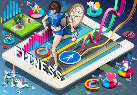 vrouw met tablet: Gedetailleerde illustratie van een isometrische Infographic met Jogging Vrouw op Tablet Stock Illustratie