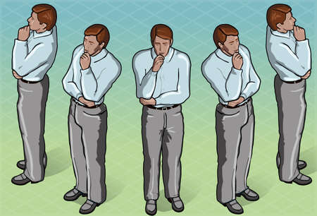 Detailed illustration of a Isometric Thoughtful Standing Man in front view