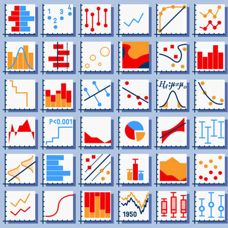 Detailed illustration of Stats Element Set in Various Colors 矢量图像