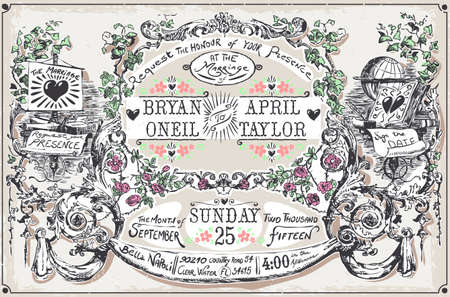 marriage certificate: Detailed illustration of a Vintage Wedding Hand Drawn Banners and Labels