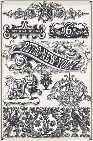 old drawing: Detailed illustration of a Vintage Page Hand Drawn Banners and Labels