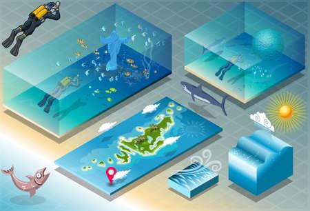 carribean: Ilustraci�n detallada de un azulejo isom�trico del Caribe Buceo Vacaciones