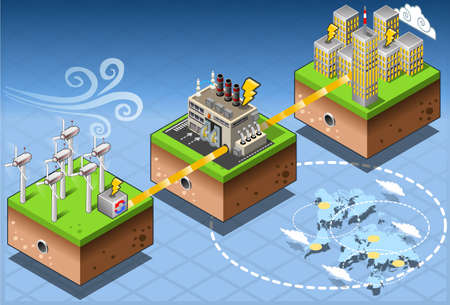 Detailed illustration of a Isometric Infographic Energy Harvesting Diagram Ilustração