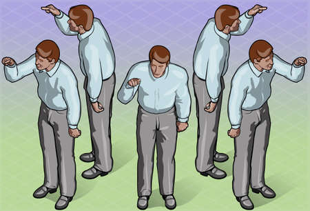 Detailed illustration of Isometric Standing Man Indicating Pose Vector