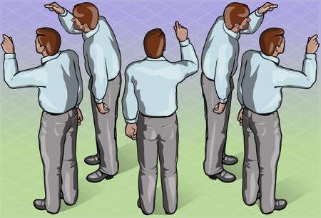 standing man: Detailed illustration of Isometric Standing Man Indicating Pose
