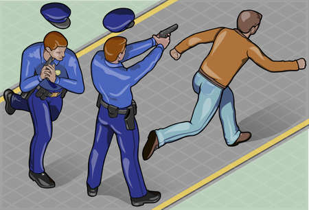 Detailed illustration of Isometric Policeman and Robber Vector