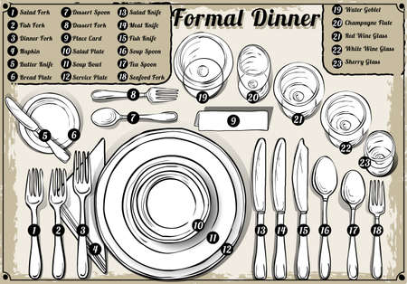 soup and salad: Detailed Illustration of a Vintage Hand Drawn Place Setting Formal Dinner Illustration