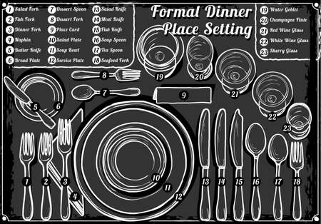 settings: Detailed Illustration of a Vintage Hand Drawn Blackboard Place Setting Formal Dinner
