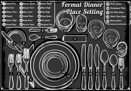 Gedetailleerde illustratie van een Vintage Hand Drawn Blackboard Place Setting formeel diner Vector Illustratie