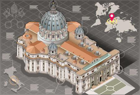 로마 바티칸의 성 베드로의 아이소 메트릭 인포 그래픽의 자세한 그림 일러스트