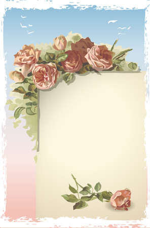 old page: Detailed illustration of a Vintage Roses Ornament on Old Page with blue sky