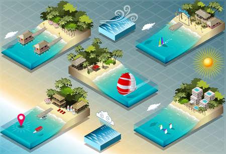 carribean: Ilustraci�n detallada de un isom�trico Azulejos de Vacaciones Caribe