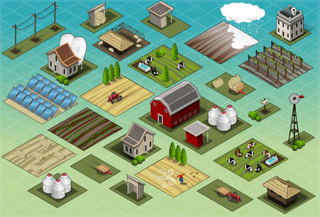 tractor in field: Detailed illustration of a Isometric Farm Set Tiles Illustration