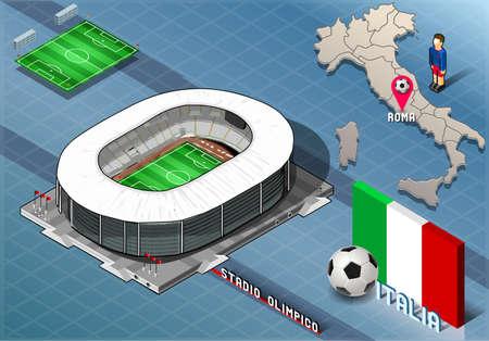 Detailed illustration of a Isometric Stadium, Olimpico, Rome, Italy 向量圖像