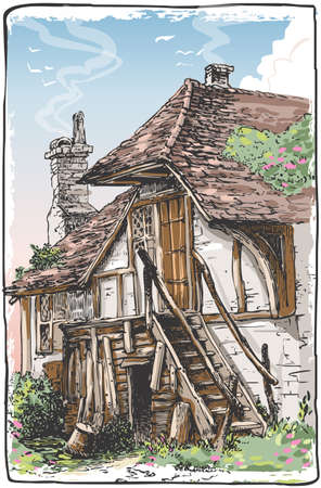 Detailed Illustration of a Vintage View of Fable House This illustration is saved in EPS10 with color space in RGB. Illustration