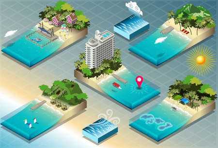 Detailed illustration of a Isometric Tiles of Carribean Holidays This illustration is saved in EPS10 with color space in RGB. Illustration
