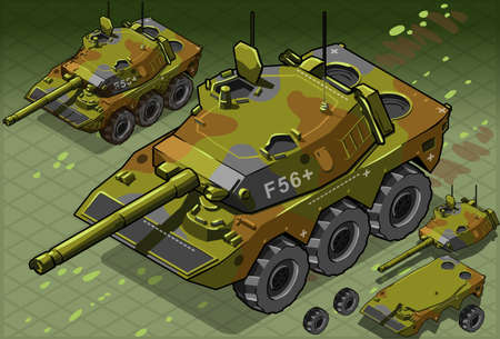 panzer: detailed illustration of a Isometric Tank Two Version This illustration is saved in EPS10 with color space in RGB.