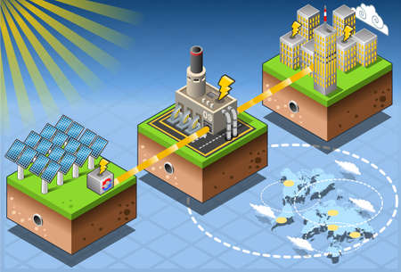 solar power station: Detailed illustration of a Isometric Infographic Energy Harvesting Diagram This illustration is saved in EPS10 with color space in RGB. Illustration