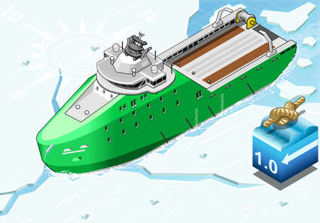 breaks: detailed illustration of a Isometric Icebreaker Ship Breaking the Ice in Front View This illustration is saved in EPS10 with color space in RGB.