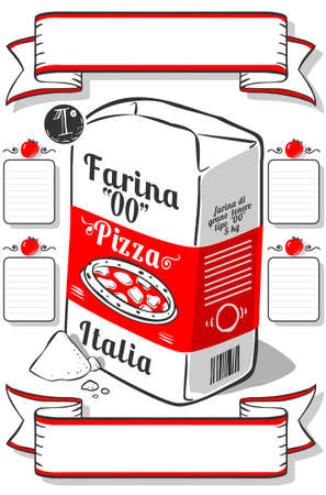 wholemeal: Detailed illustration of a Vintage Hand Drawn Advertising Flour Pizza Page This illustration is saved in EPS10 with color space in RGB.