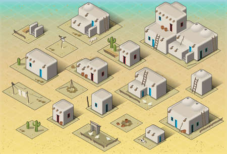 pueblo: Detailed illustration of a Isometric Western Rural Pueblo Basic Set Tiles This illustration is saved in EPS10 with color space in RGB.