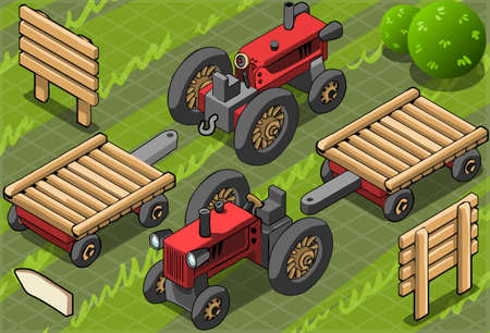 Detailed illustration of a Isometric Red Farm Tractor in Two Positions