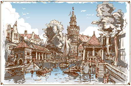 gouda: Detailed illustration of a Vintage View of Fish Market Canal in Gouda, Nederland   This illustration is saved in EPS10 with color space in RGB.