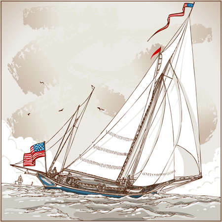 schooner: Detailed Illustration of a Vintage View of American Yacht in Regatta Illustration in EPS10 with color space in RGB.