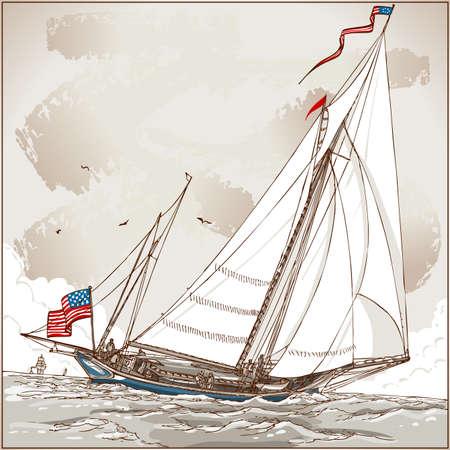 Szczegółowe Ilustracja Vintage Widok amerykańskiej Jacht w Regatta Ilustracja w eps10 z przestrzeni barw w RGB. Ilustracje wektorowe