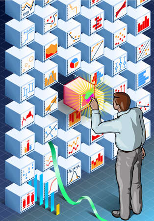 standing man: Detailed illustration of a Isometric Infographic with Standing Man on Statistics Wall This illustration is saved in EPS10 with color space in RGB. Illustration