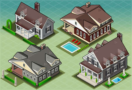 colonial house: Detailed illustration of a Isometric Historic American Building  This illustration is saved in EPS10 with color space in RGB. Illustration