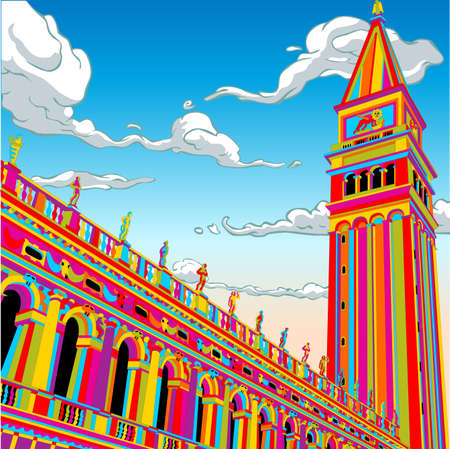 bell tower: Detailed illustration of a San Marco Tower Bell in Happy Rainbow This illustration is saved in EPS10 with color space in RGB.