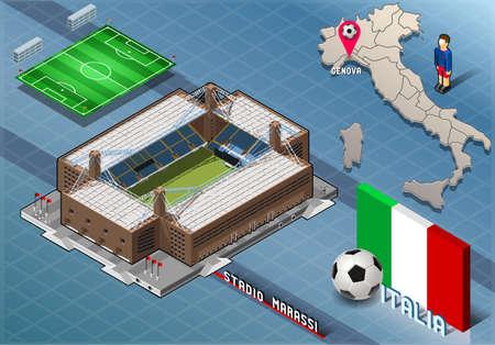 아이소 메트릭 경기장, Marassi, 제노바, 이탈리아의 자세한 그림이 그림은 RGB10에서 색상 공간으로 EPS10에 저장됩니다. 일러스트