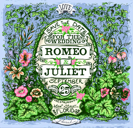 romeo: Detailed illustration of a Floreal Vintage Wedding Invite
