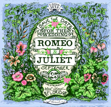 Detailed illustration of a Floreal Vintage Wedding Invite