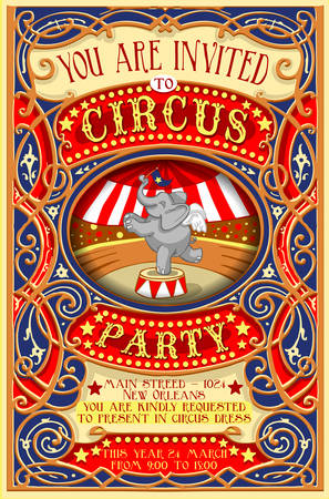 circus background: Detailed illustration of a Poster Invite for Circus Party with Elephant