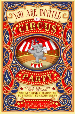 Gedetailleerde illustratie van een Poster Nodig voor de Partij van het circus met Elephant Stockfoto - 35083652
